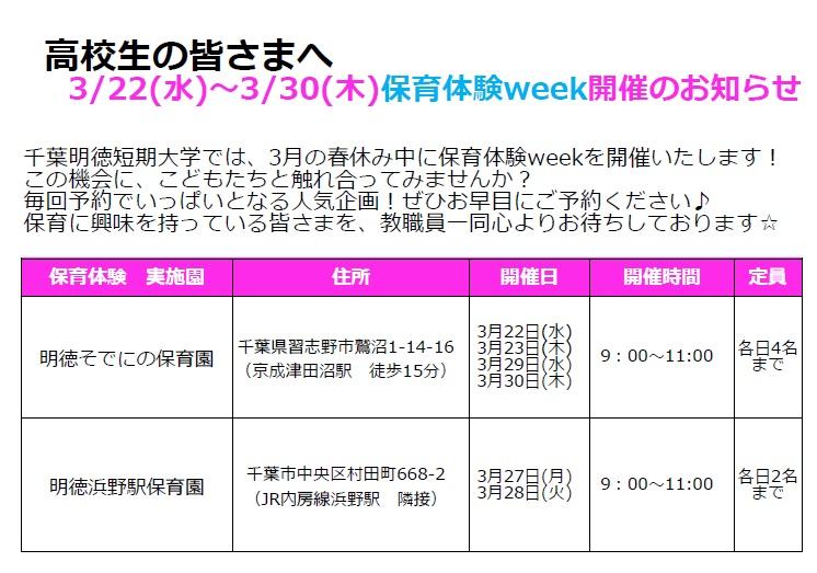 3/22(水)~3/30(木) 保育体験week参加申込み